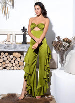 Sweet Seduction Green Cut Out Ruffle Jumpsuit