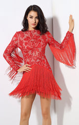 Madly Deeply Red Long Sleeve Fringe Dress - Fashion Genie Boutique USA Alt