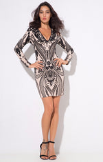 Gal Crush Black And Nude Sequin Long Sleeve Mini Dress - Fashion Genie Boutique USA Alt