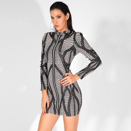 I See Fire Black Sequin Mesh Long Sleeve Mini Dress - Fashion Genie Boutique