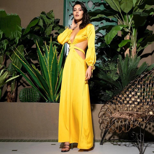 Miami Sun Yellow Long Sleeve Maxi Dress