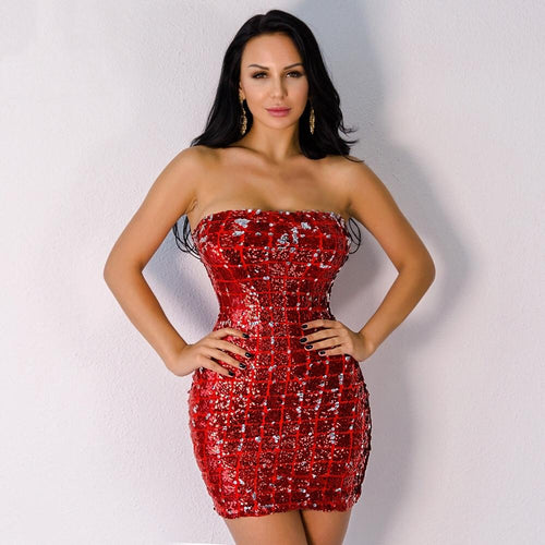 Dreaming Of Diamonds Red Sequin Strapless Mini Dress - Fashion Genie Boutique