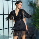 Bittersweet Black Pearl Embellished Fringe Mini Dress - Fashion Genie Boutique
