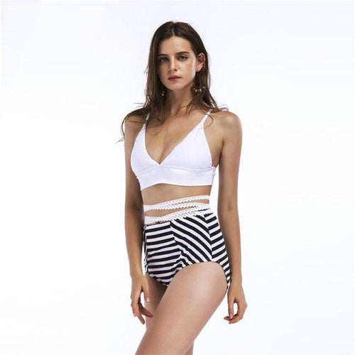 Resort Ready White & Navy Stripe Bikini - Fashion Genie Boutique