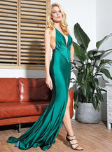 Spanish Dancer Green Plunge Front Split Maxi Fishtail Dress