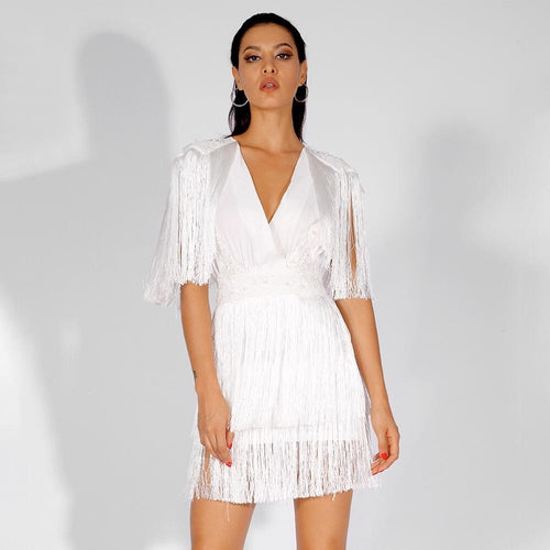 Bittersweet White Pearl Embellished Fringe Mini Dress - Fashion Genie Boutique