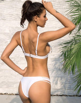 California Sun White Mesh Rhinestone Embellished Bikini - Fashion Genie Boutique USA Alt