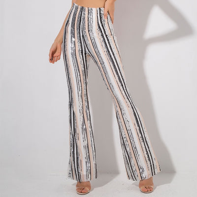 Risky Business Multi Sequin High Waisted Wide Leg Pants - Fashion Genie Boutique USA Alt
