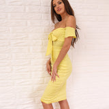 Heaven Sent Yellow Bardot Front Wrap Midi Dress - Fashion Genie Boutique USA Alt