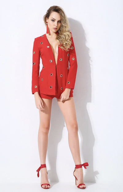 Ornate Red Shorts and Blazer Two Piece Set - Fashion Genie Boutique