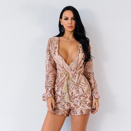 Goal Getter Rose Gold Sequin Long Sleeve Playsuit - Fashion Genie Boutique