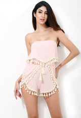 Amelia Pink Tassel Trim Romper - Fashion Genie Boutique USA Alt