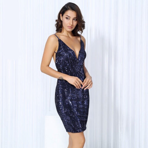 Weekend Fun Navy Sequin Mini Dress - Fashion Genie Boutique USA Alt