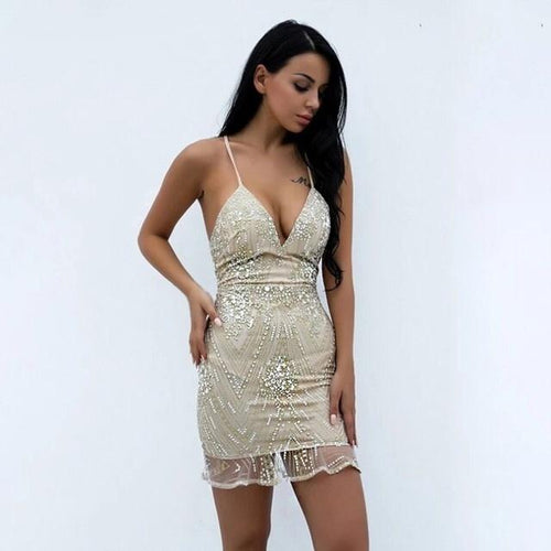 Girl Talk Nude Sequin Mini Dress - Fashion Genie Boutique