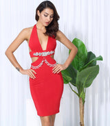 Envy Red Crystal Embellished Bodycon Mini Dress - Fashion Genie Boutique USA Alt