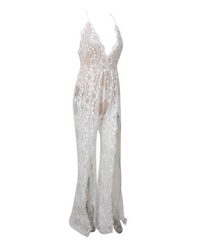 Bad Gal White Sequin Split Leg Jumpsuit - Fashion Genie Boutique USA Alt