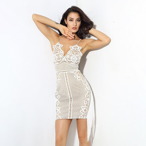 Fantasy Wishes White Fringe Mini Dress - Fashion Genie Boutique