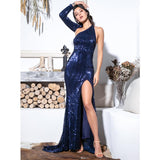 Feeling Chic Navy Sequin Long Sleeve Split Maxi Gown Dress - Fashion Genie Boutique