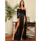 So Lavish Black Sequin Bardot Double Split Maxi Dress