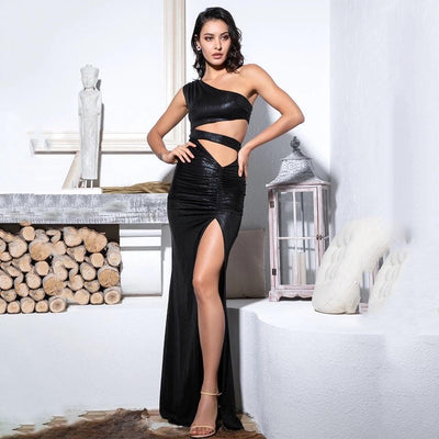 Dangerous Woman Black Cut Out Refective Maxi Gown Dress - Fashion Genie Boutique