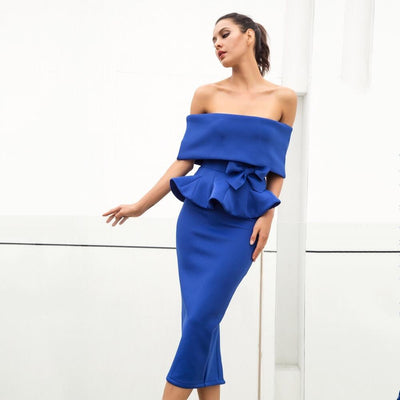 Hope Blue Peplum Bardot Top & Midi Skirt Co-Ord