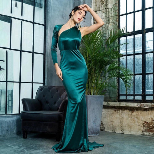 All The Drama Green One Shoulder Satin Maxi Gown Dress