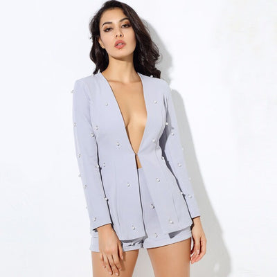Bethany Blue Pearl Shorts and Blazer Co-Ord - Fashion Genie Boutique USA Alt