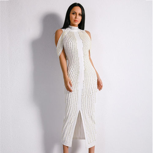 High Society White Stud Embellished Slinky Maxi Dress - Fashion Genie Boutique USA Alt