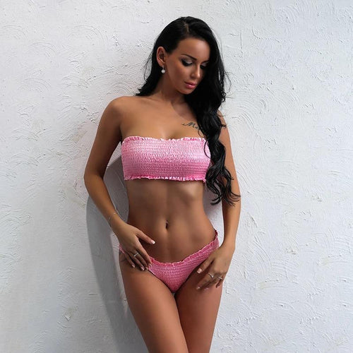 Anitigua Pink Strapless Bikini Swimsuit - Fashion Genie Boutique
