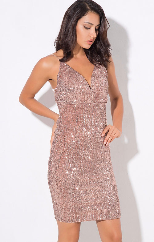 00618590 Weekend Fun Rose Gold Sequin Mini Dress - Fashion Genie Boutique USA Alt