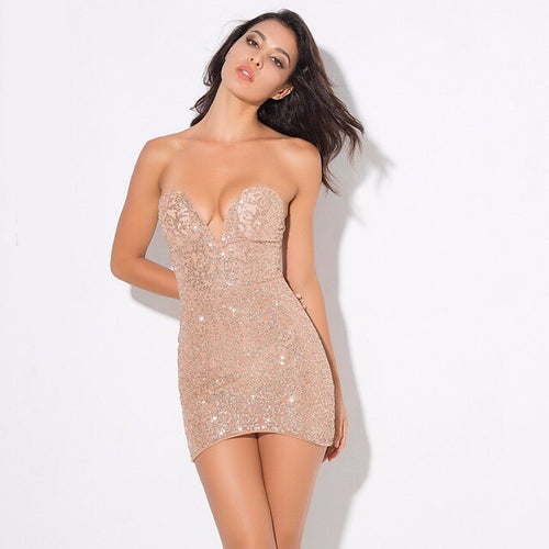 Rise & Shine Champagne Glitter Strapless Mini Dress - Fashion Genie Boutique USA Alt