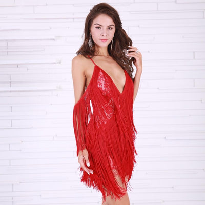 Doll Face Red Fringed Mini Party Dress - Fashion Genie Boutique