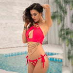 Marbella Glam Red Chain Bikini Swimsuit - Fashion Genie Boutique