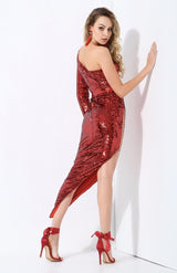 Eyes On The Prize Red Sequin Maxi Dress - Fashion Genie Boutique USA Alt