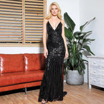 Ecstasy Black Plunge Sequin Maxi Fishtail Gown Dress - Fashion Genie Boutique