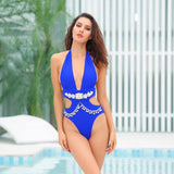 Elise Blue Crystal Embellished Monokini Swimsuit