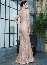 Moroccan Mama Gold Long Sleeve Glitter Fishtail Maxi Dress - Fashion Genie Boutique