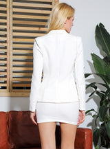 Wall Street Sinner White Crystal Blazer & Mini Skirt Co-Ord - Fashion Genie Boutique