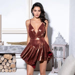 Kill The Lights Brown Plunge Pleated Romper