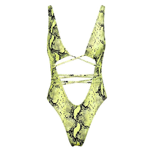 Thailand Green Cut Out Snake Print Swimsuit