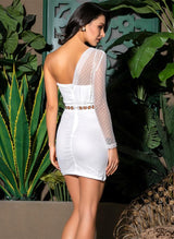 In It For The Fame White Mesh Mini Dress