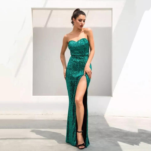 Disco Belle Green Sequin Strapless Split Maxi Gown Dress - Fashion Genie Boutique