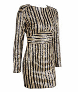 Glitter And Gold Sequin Stripe Long Sleeve Mini Dress - Fashion Genie Boutique