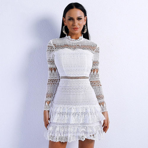 Go With The Flow White Crochet Mini Dress - Fashion Genie Boutique