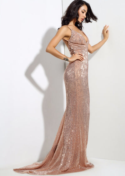 Goal Digger Champagne Embellished Sequin Maxi Party Gown Dress - Fashion Genie Boutique USA Alt
