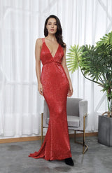 Sorrento Vibes Red Backless Sequin Maxi Gown Dress - Fashion Genie Boutique