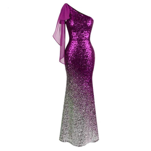 Oh My Posh Pink & Silver Sequin Gradient One Shoulder Maxi Gown Dress - Fashion Genie Boutique