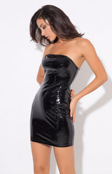 Worth The Risk PVC Strapless Bodycon Mini Dress - Fashion Genie Boutique USA Alt