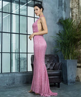 Luxury Night Pink Sequin One Shoulder Maxi Gown Dress