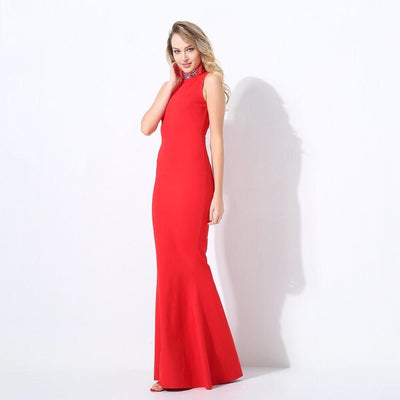 Glam Squad Red Crystal Embellished Fishtail Maxi Dress - Fashion Genie Boutique